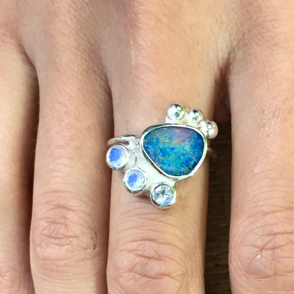 Opal Lights ring / sterling silver