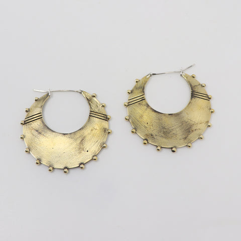 GERMAN BRASS AMAZON EARRINGS