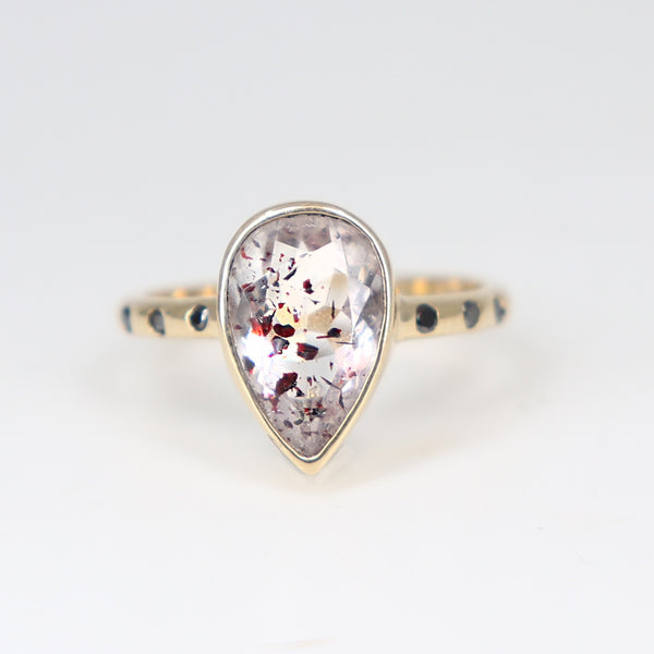 Ruby rutilated quartz ring with black diamonds