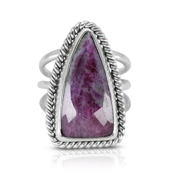 Queen of Spades Ruby Zoisite Ring