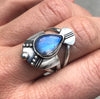 Lyerbird Ring rainbow moonstone
