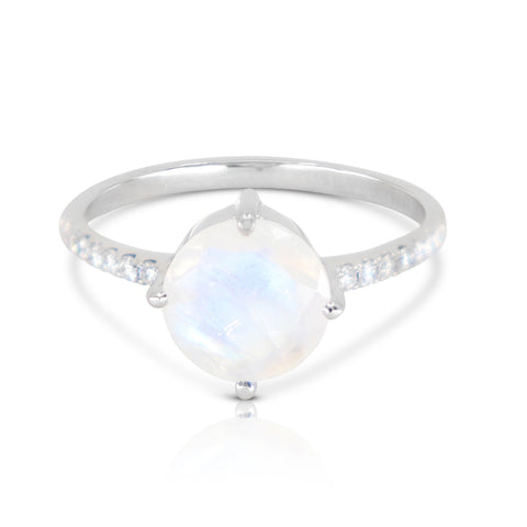 White gold moonstone solitaire ring