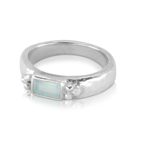 Reverence Aqua Chalcedony Silver Ring