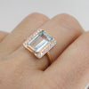 Aquamarine and diamond baguette ring