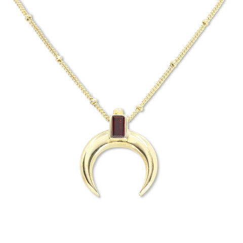 Lunar Crescent Garnet Gold Necklace