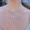 Lunar Crescent Labradorite Silver Necklace