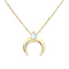 Lunar Crescent Moonstone Gold Necklace