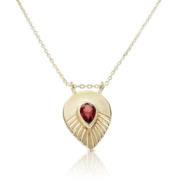 Maple Garnet Gold Necklace