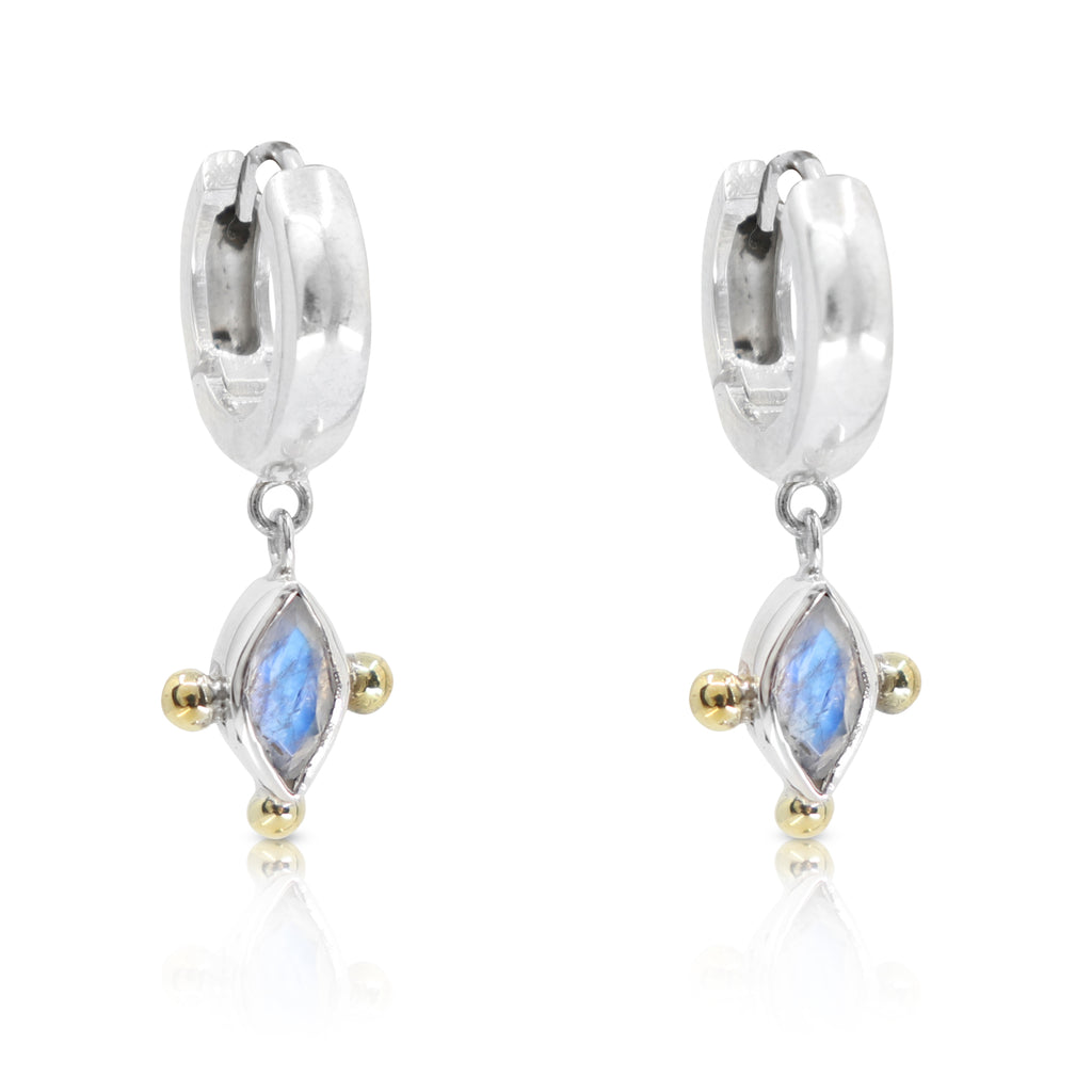 Marquise Moonstone Silver Huggies