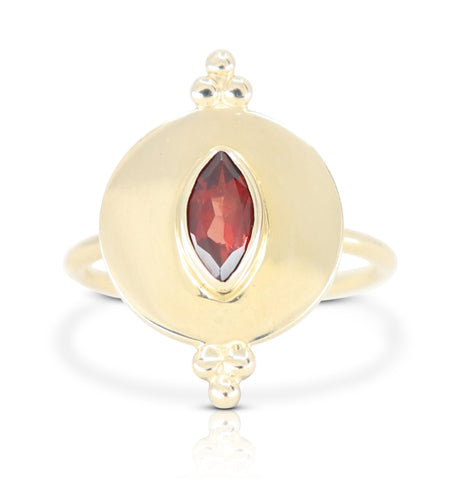 Monarchy Shield Gold Garnet Ring