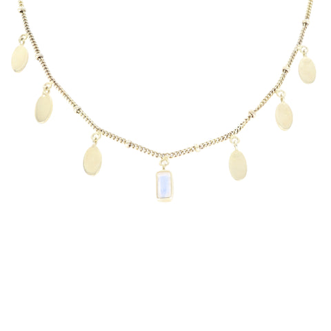 Petal Moonstone Gold Necklace