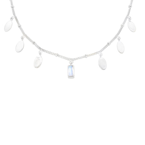 Petal Moonstone Silver Necklace