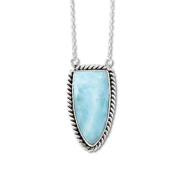 Queen of Spades Larimar Pendant