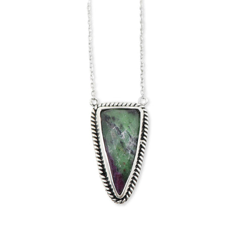 Queen of Spades Ruby Zoisite Pendant