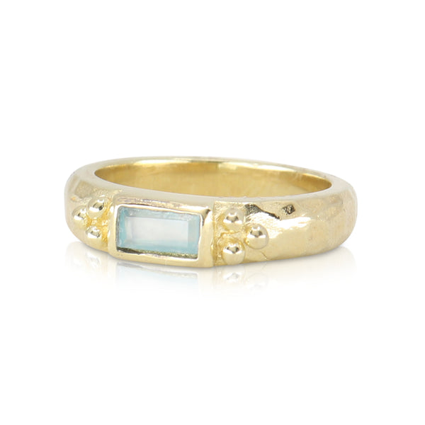Reverence Aqua Chalcedony Gold Ring