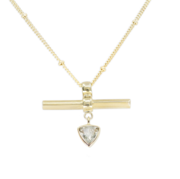 The Trillion Bar Green Amethyst Gold Necklace