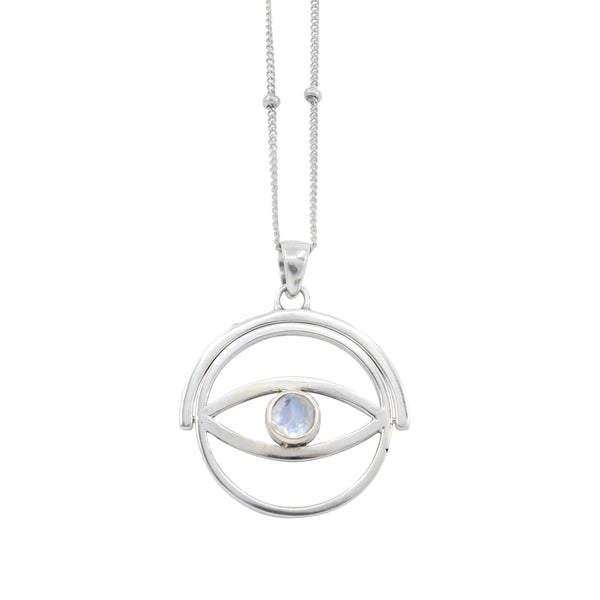 Spinning Eye Silver Necklace