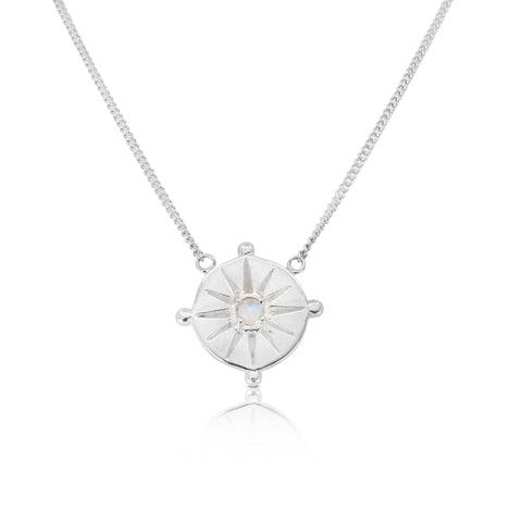 Sun Dial Silver Necklace
