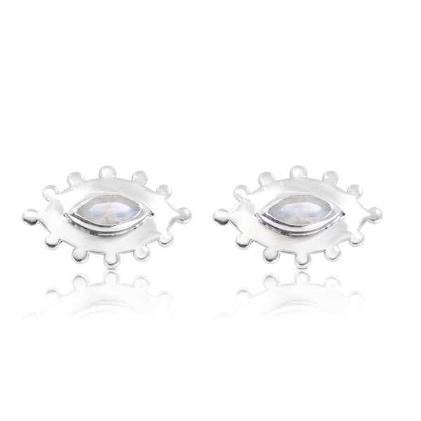 Marquise Eye Silver Moonstone Studs