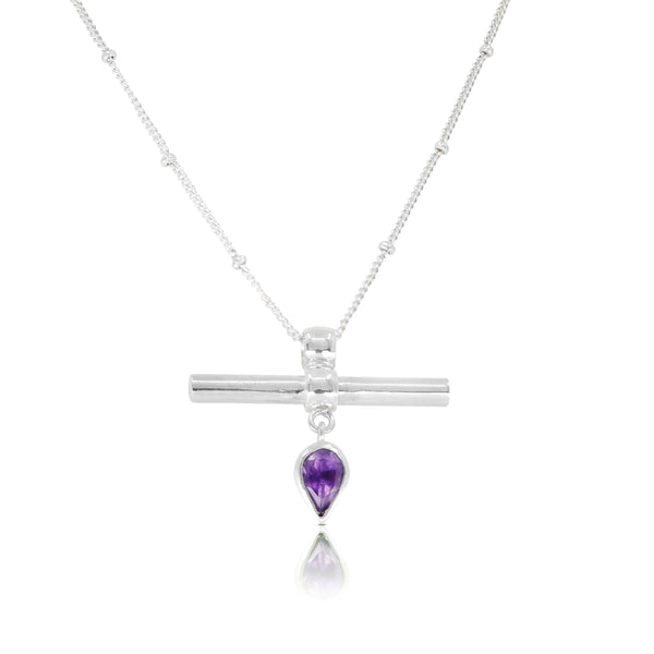 The Bar Silver Amethyst Necklace