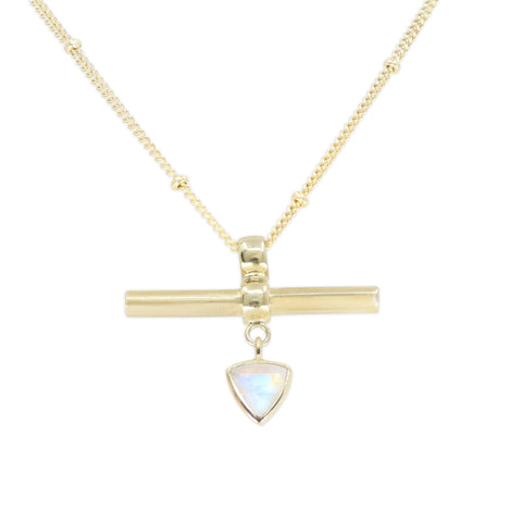 The Trillion Bar Moonstone Gold Necklace