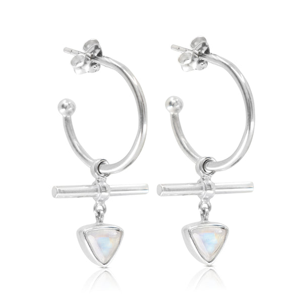 The Trillion Bar Moonstone Hoops