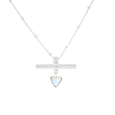 The Trillion Bar Moonstone Silver Necklace