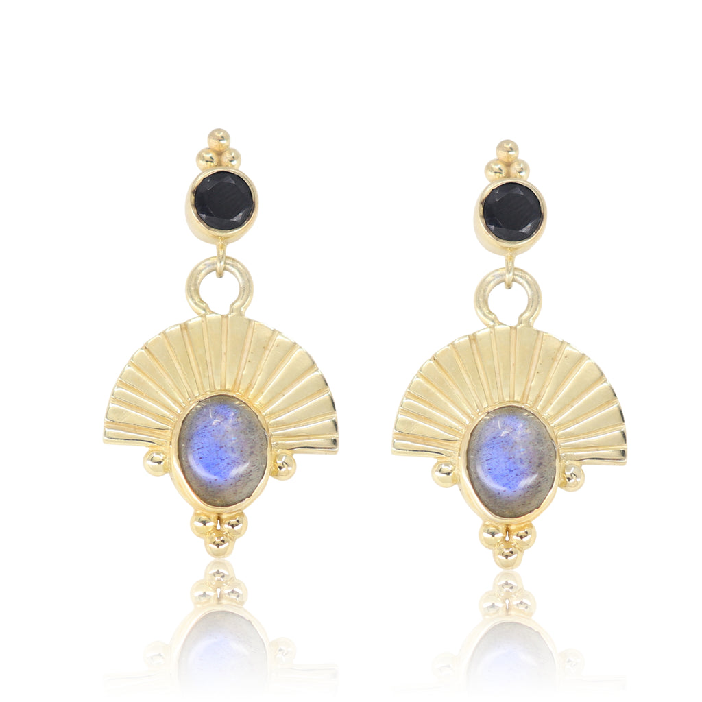 The Empress Labradorite Gold Earrings