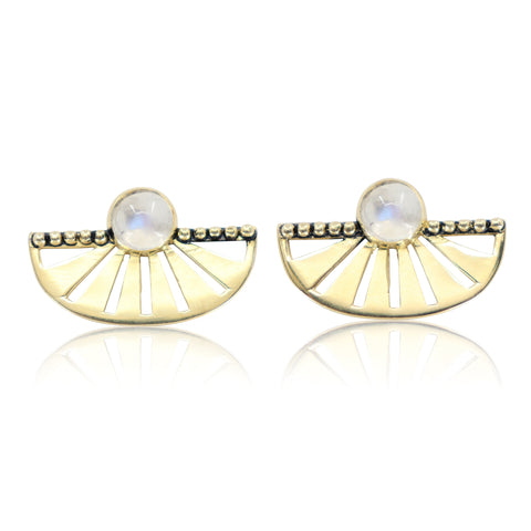 Adrift Earrings Gold Moonstone