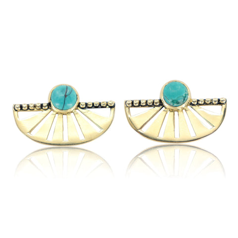 Adrift Earrings Gold Turquoise