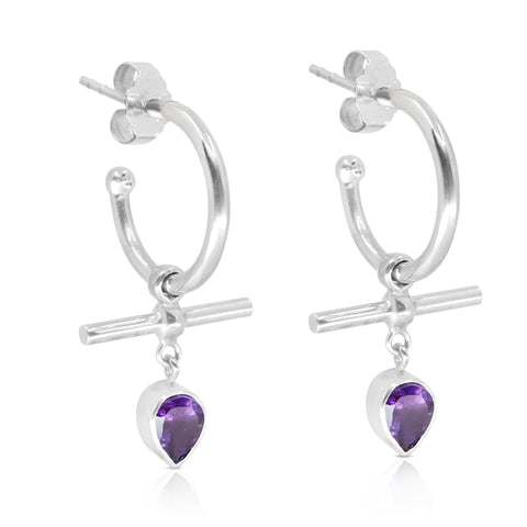 The Bar Amethyst Silver Hoops