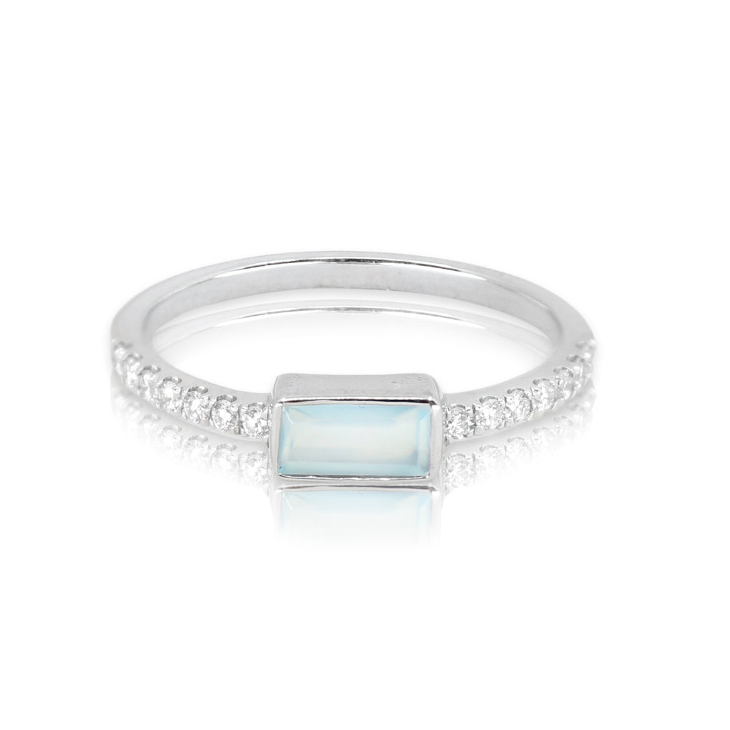 White Gold Aqua Chalcedony Baguette and Diamond Band