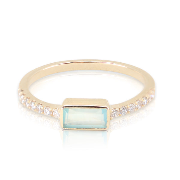 Yellow Gold Aqua Chalcedony Baguette and Diamond Band