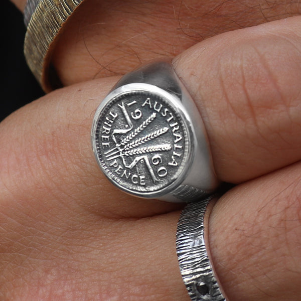 sterling silver threepence signet ring