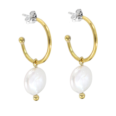 Pearl Gold Baby Hoops