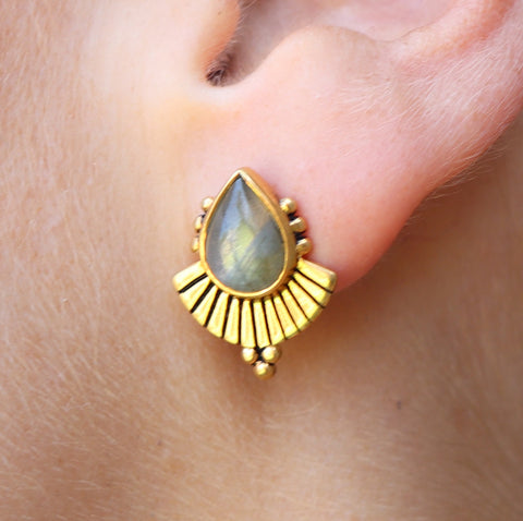 Cleopatra earrings Labradorite Gold