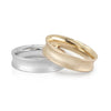 Mens concave wedding band yellow gold