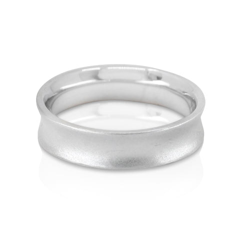 Mens concave wedding band white gold