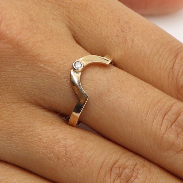Diamond crescent ring
