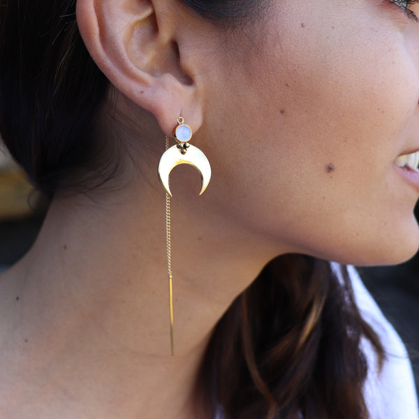 Eclipse Thread Gold Earrings