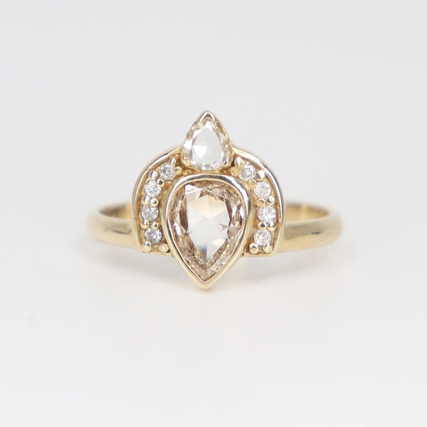 Rose cut champagne diamond Empress ring