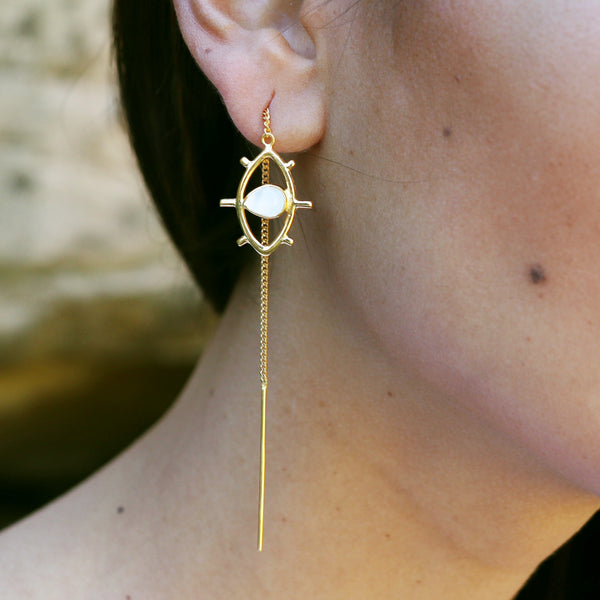 Gold Evil eye thread earrings