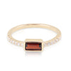 Yellow Gold Garnet Baguette and Diamond Band