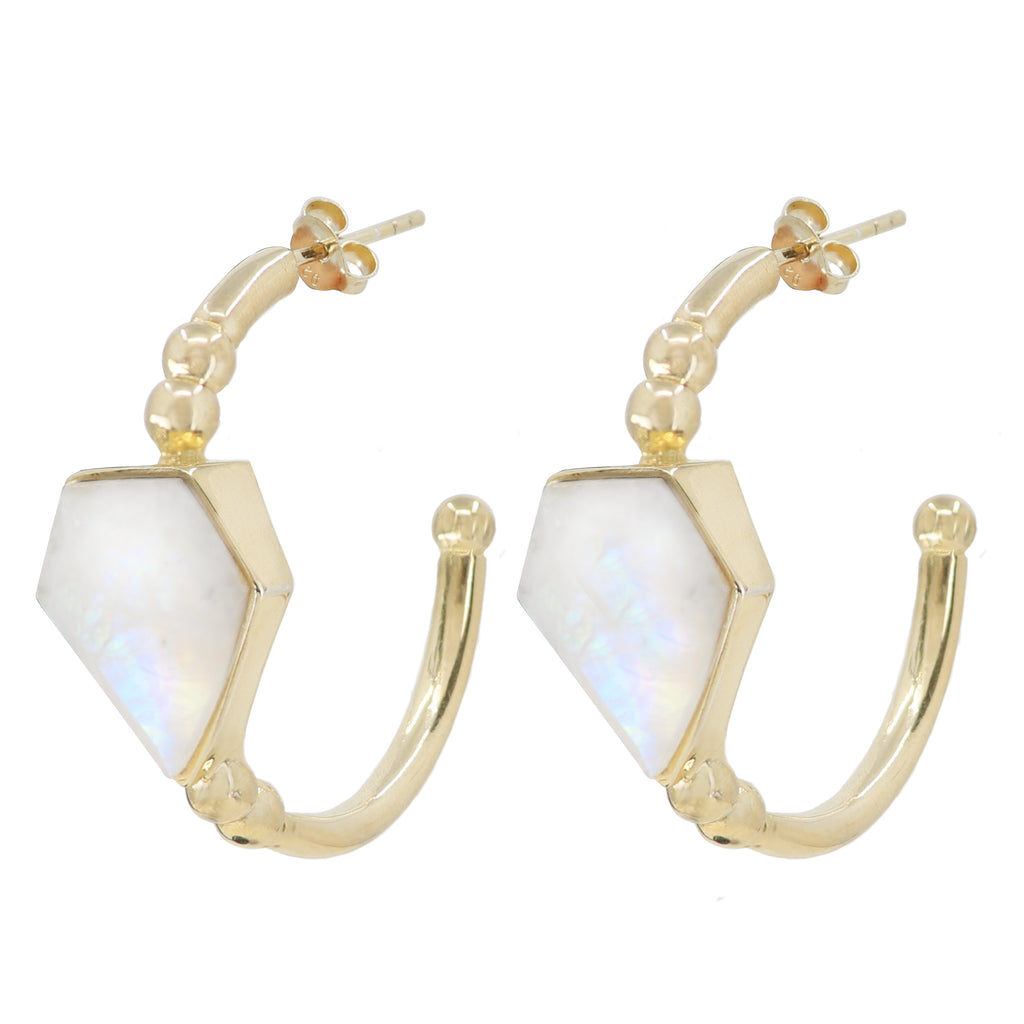 Montana Moonstone Gold Hoops