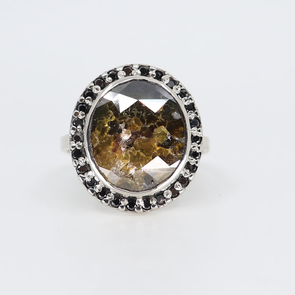 cosmic diamond art deco ring