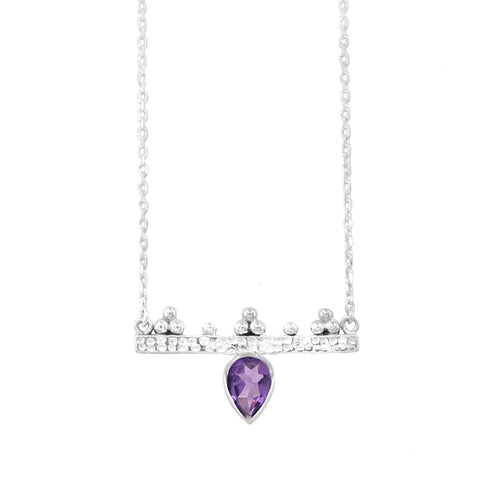 Pallas Athene Silver Amethyst Necklace