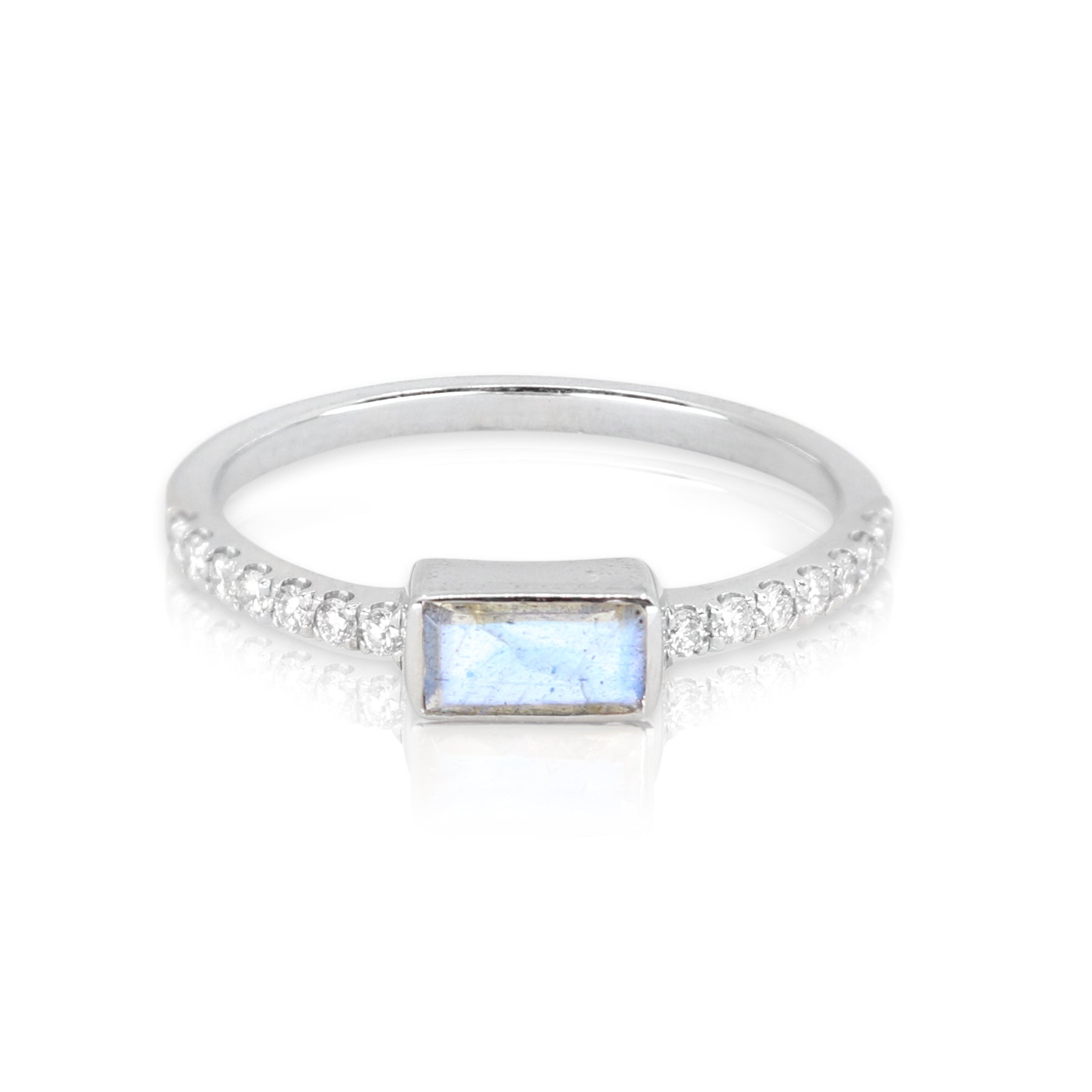 White Gold Labradorite Baguette and Diamond Band