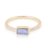 Yellow Gold Labradorite Baguette and Diamond Band