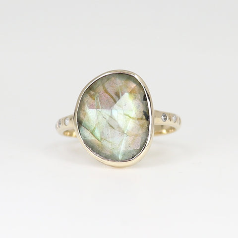 Labradorite slice with white diamonds in 9ct yellow gold