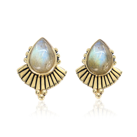 Cleopatra Labradorite Gold Earrings